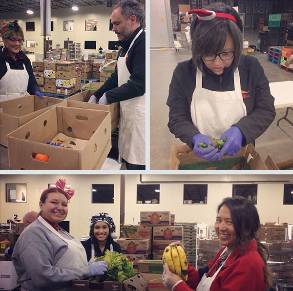 MESA staff work to sort and package produce for distribution throughout the state.